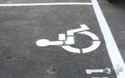 Parking lot with ADA markings